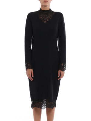 Ermanno Scervino: knee length dresses online - Lace embellished wool blend dress