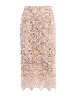 Ermanno Scervino: Knee length skirts & Midi - Macramé lace pencil midi skirt