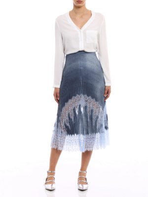 Ermanno Scervino: Knee length skirts & Midi online - Denim-style lace detail midi skirt