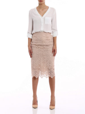 Ermanno Scervino: Knee length skirts & Midi online - Macramé lace pencil midi skirt