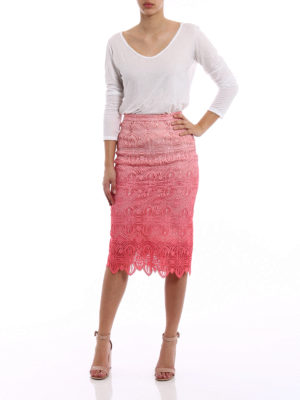 Ermanno Scervino: Knee length skirts & Midi online - Pink macramé lace pencil midi skirt