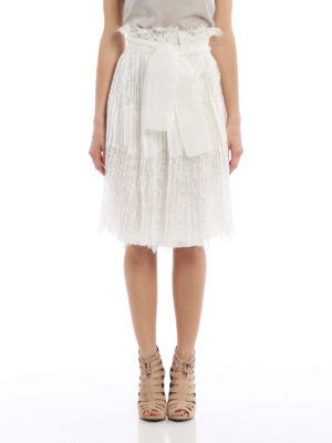 Ermanno Scervino: Knee length skirts & Midi online - See-through lace pleated skirt