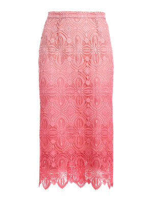 Ermanno Scervino: Knee length skirts & Midi - Pink macramé lace pencil midi skirt