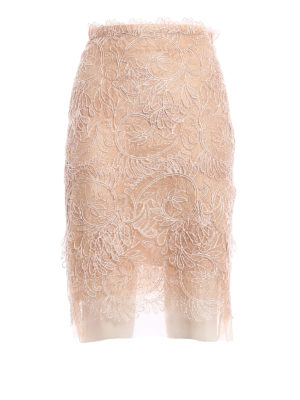 Ermanno Scervino: Knee length skirts & Midi - Tulle and lace pencil skirt