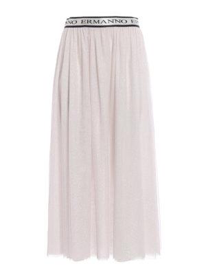 Ermanno Scervino: Long skirts - Glitter tulle tiered skirt