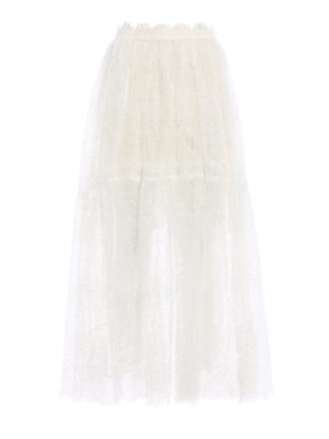 Ermanno Scervino: Long skirts - Ivory lace and tulle long skirt
