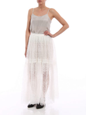 Ermanno Scervino: Long skirts online - Ivory lace and tulle long skirt