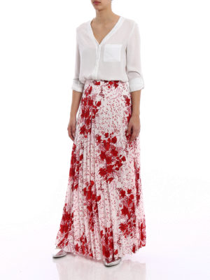 Ermanno Scervino: Long skirts online - Printed silk pleated long skirt