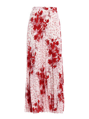 Ermanno Scervino: Long skirts - Printed silk pleated long skirt