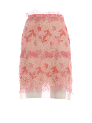 Ermanno Scervino: mini skirts - Floral flounce mesh mini skirt