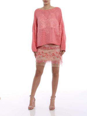 Ermanno Scervino: mini skirts online - Floral flounce mesh mini skirt