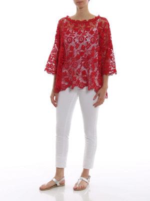 ERMANNO SCERVINO: bluse online - Blusa boxy in macramè rosso