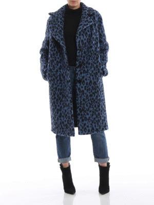 ERMANNO SCERVINO: cappotti al ginocchio online - Cappotto in misto lana blu stampa animalier