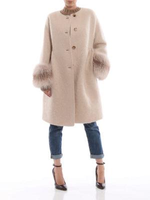 ERMANNO SCERVINO: cappotti al ginocchio online - Cappotto girocollo ampio con polsi in volpe