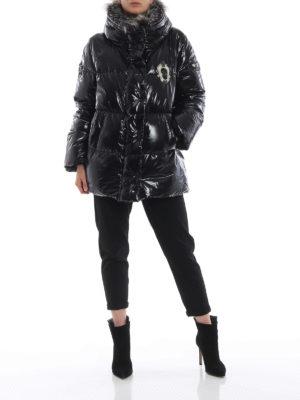 ERMANNO SCERVINO: cappotti imbottiti online - Piumino nero lucido con collo di pelliccia