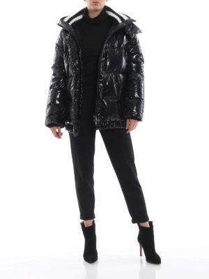 ERMANNO SCERVINO: giacche imbottite online - Piumino nero lucido con cappuccio staccabile