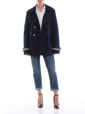 ERMANNO SCERVINO: cappotti corti online - Caban doppiopetto blu con polsi gioiello
