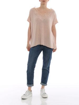 ERMANNO SCERVINO: maglia collo a v online - Pull in cashmere e pizzo color nude