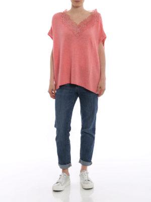 ERMANNO SCERVINO: maglia collo a v online - Pull rosa in cashmere e pizzo