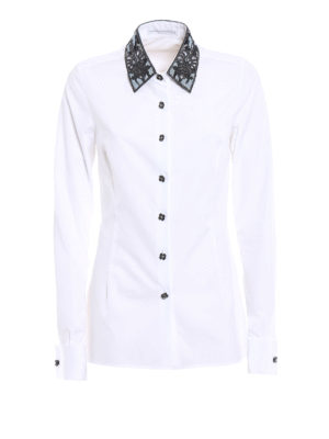 Ermanno Scervino: shirts - Embroidered collar poplin shirt