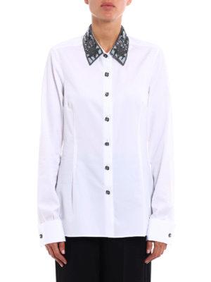 Ermanno Scervino: shirts online - Embroidered collar poplin shirt