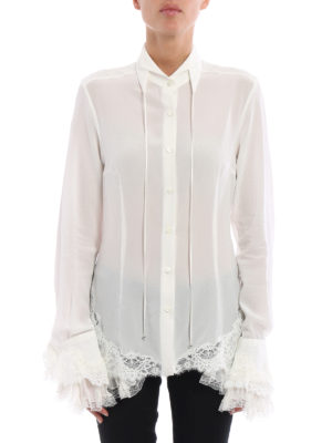 Ermanno Scervino: shirts online - Ruched lace detail silk shirt