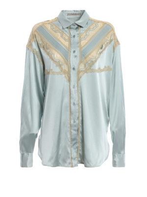 ERMANNO SCERVINO: camicie - Camicia over in seta celeste chiaro con pizzi