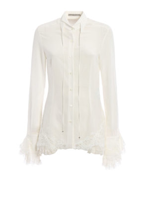 Ermanno Scervino: shirts - Ruched lace detail silk shirt