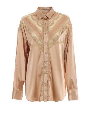 ERMANNO SCERVINO: camicie - Camicia over in raso di seta e pizzo