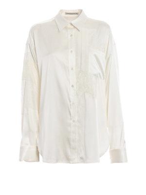 ERMANNO SCERVINO: camicie - Camicia over in raso di seta con pizzo