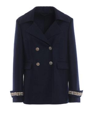 ERMANNO SCERVINO: cappotti corti - Caban doppiopetto blu con polsi gioiello