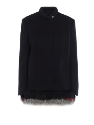 Ermanno Scervino: short coats - Fur trimmed inner vest detail coat