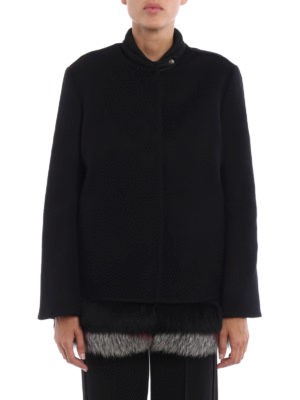 Ermanno Scervino: short coats online - Fur trimmed inner vest detail coat