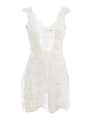 Ermanno Scervino: short dresses - Lace and tulle sleeveless dress