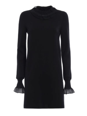 Ermanno Scervino: short dresses - Ruched knitted wool dress