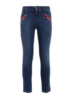 Ermanno Scervino: skinny jeans - Embellished slim fit crop jeans
