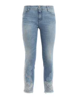 Ermanno Scervino: skinny jeans - Lace detailed crop jeans