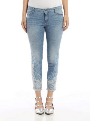 Ermanno Scervino: skinny jeans online - Lace detailed crop jeans