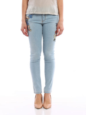 Ermanno Scervino: straight leg jeans online - Embroidered stretch denim jeans