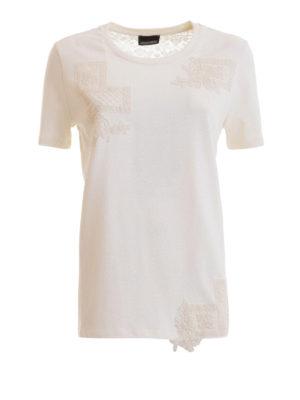 9f0f80070efe ERMANNO SCERVINO  t-shirt - T-shirt in cotone con ricami in pizzo