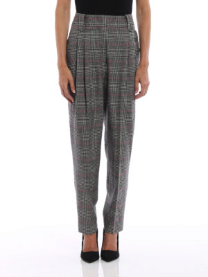 Ermanno Scervino: Tailored & Formal trousers online - Prince of Wales wool trousers