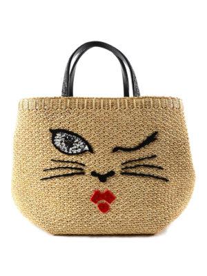Ermanno Scervino: totes bags - Embellished embroidered raphia bag