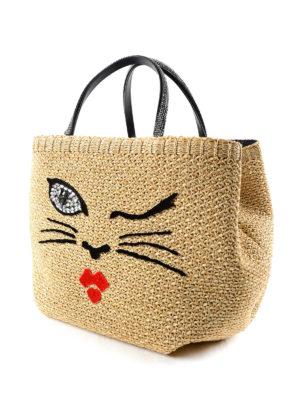 Ermanno Scervino: totes bags online - Embellished embroidered raphia bag