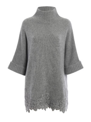 Ermanno Scervino: Turtlenecks & Polo necks - Cashmere lace embellished cape