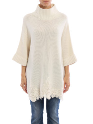 Ermanno Scervino: Turtlenecks & Polo necks online - Cashmere lace embellished cape