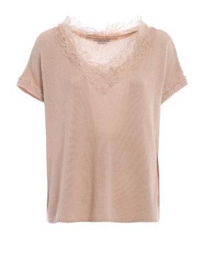 ERMANNO SCERVINO: maglia collo a v - Pull in cashmere e pizzo color nude
