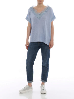 Ermanno Scervino: v necks online - Sky blue cashmere and lace sweater
