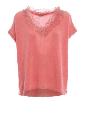 ERMANNO SCERVINO: maglia collo a v - Pull rosa in cashmere e pizzo