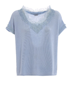 Ermanno Scervino: v necks - Sky blue cashmere and lace sweater