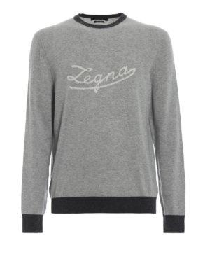ERMENEGILDO ZEGNA: maglia collo rotondo - Pullover in cashmere con intarsio Zegna